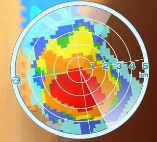レーダー画面で回転